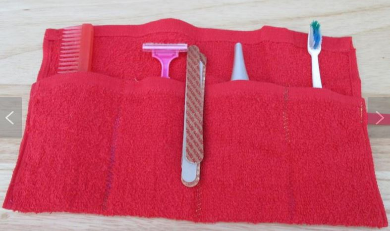 Toothbrush travel pouch red comb razor nail files toothbrush