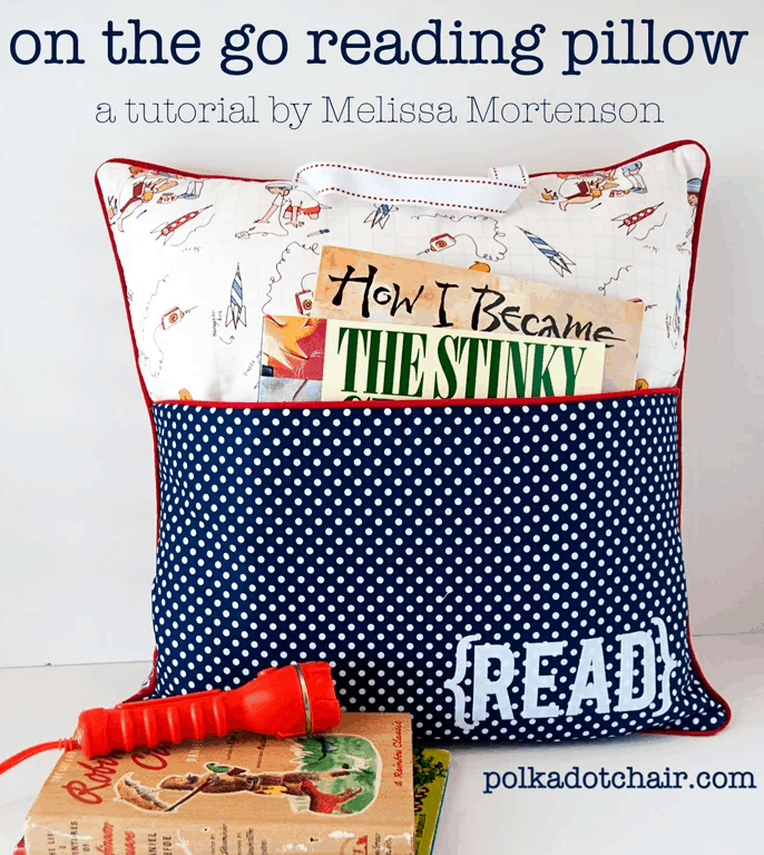 diy gifts on the go reading pillow with book pocket sewing tutorial by melissa mortenson read polkadotchair