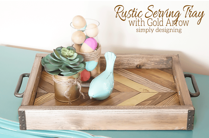 diy gifts rustic serving try with gold arrow simply designing wood tray with handles jar and can decor twine bird