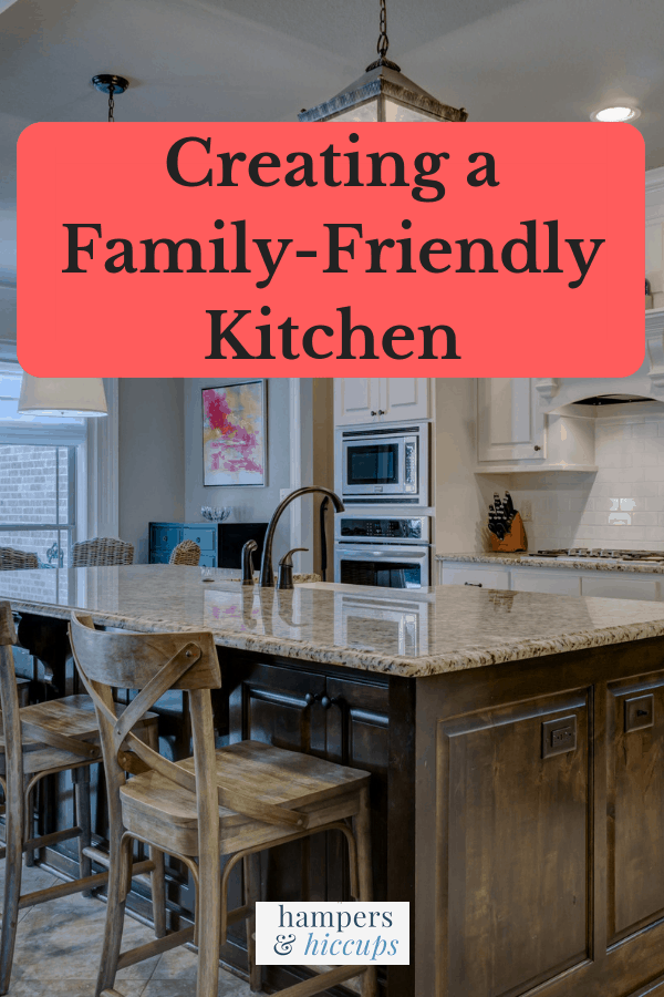 Creating a family-friendly kitchen clean kitchen counter and stools hampersandhiccups