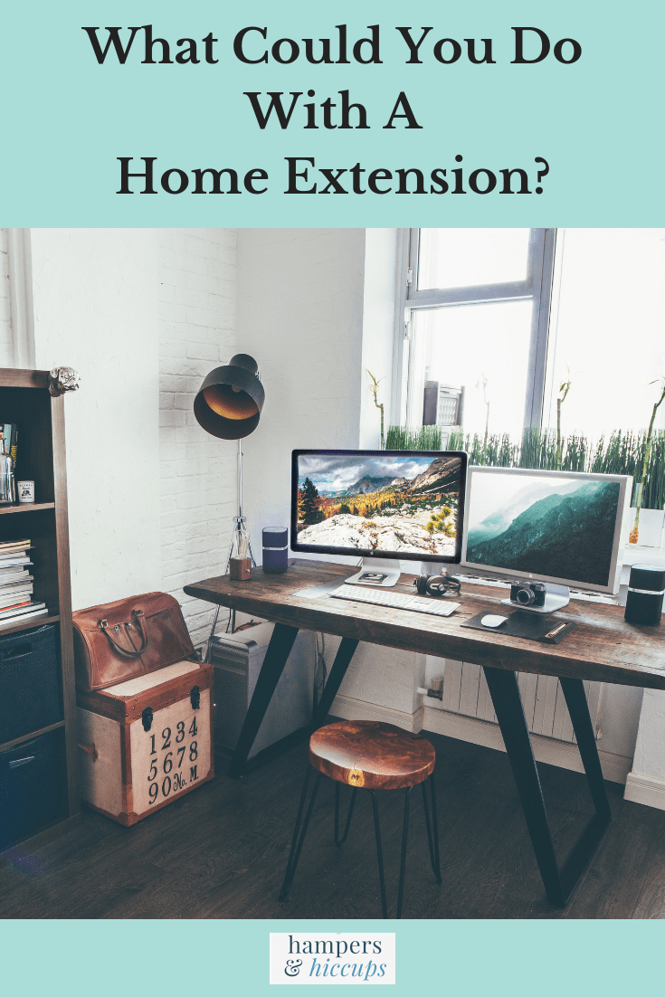 What Could You Do With A Home Extension? image home office desk monitors stool hampersandhiccups