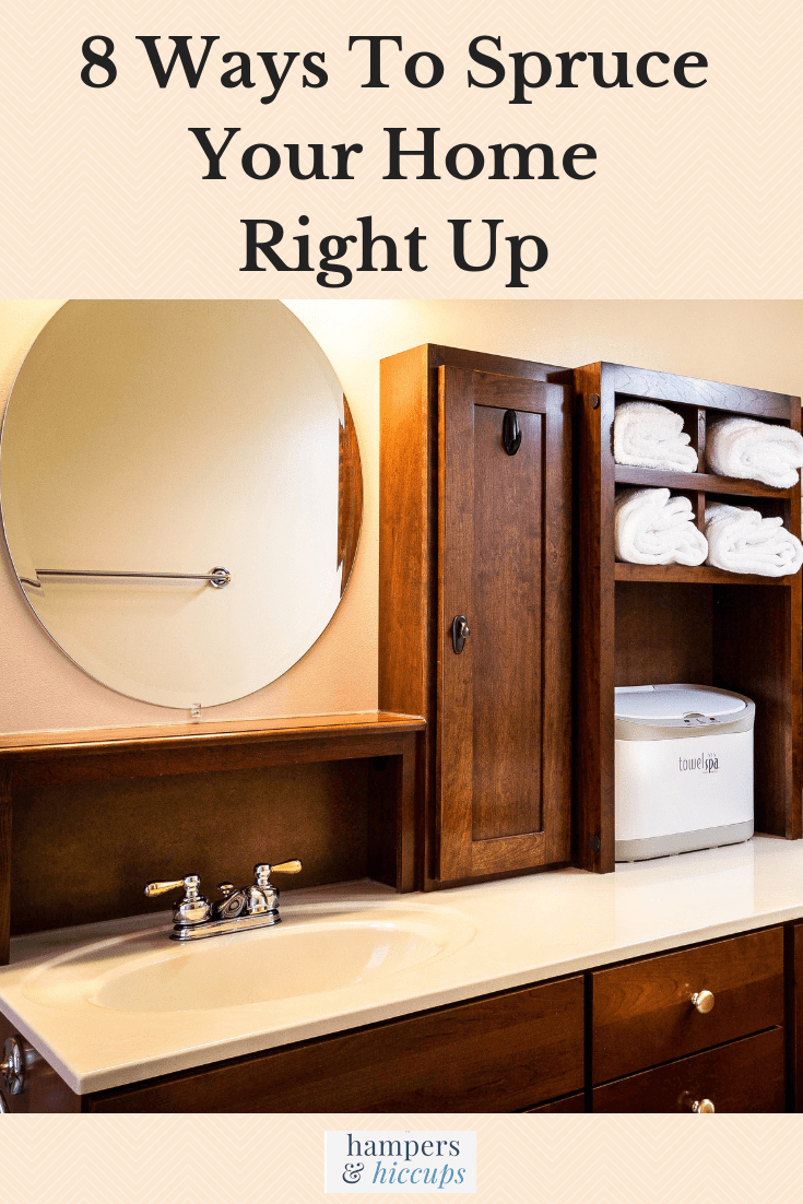 8 Ways To Spruce Your Home Right Up bathroom cabinets mirror vanity hampersandhiccups