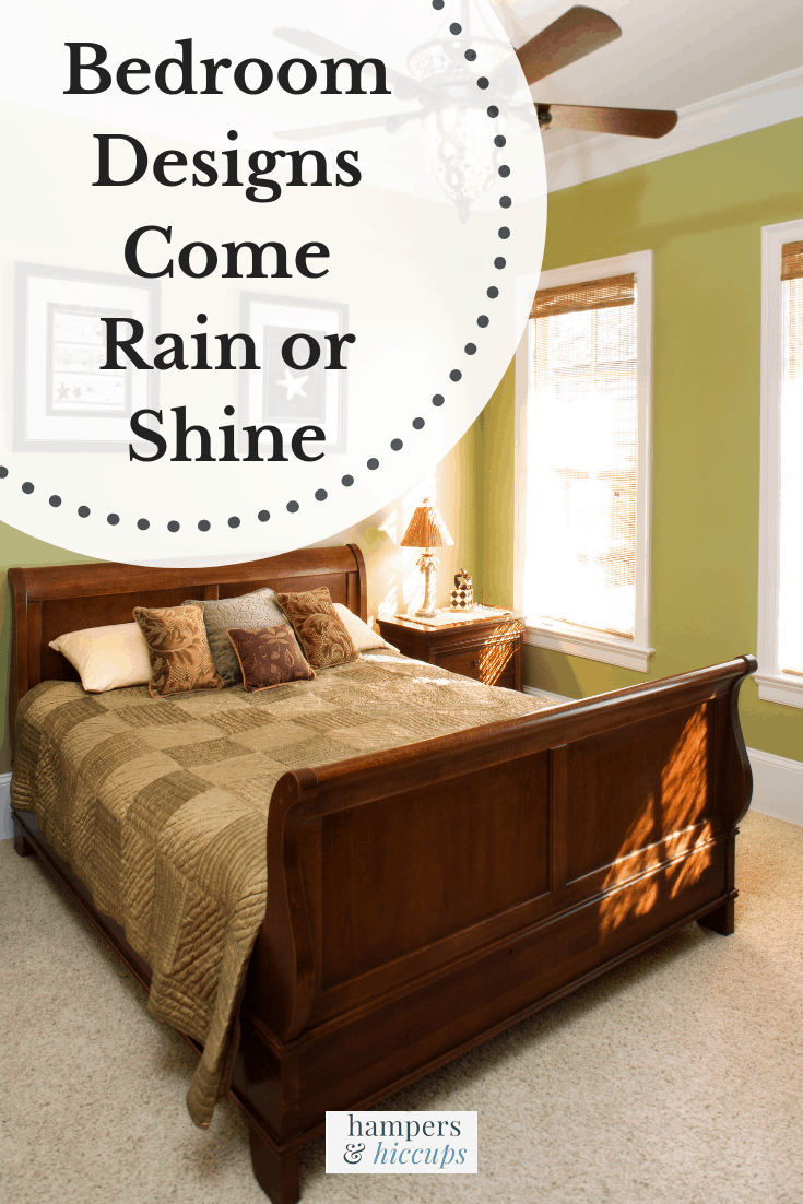 Bedroom Designs Come Rain Or Shine bedroom with coordinated duvet and pillows blinds ceilling fan hampersandhiccups