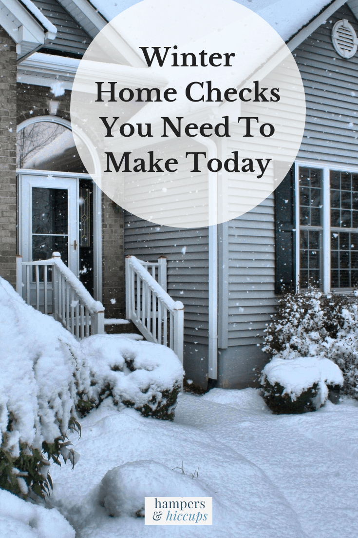 Winter Home Checks You Need To Make Today image snow on sidewalk in front of house hampersandhiccups