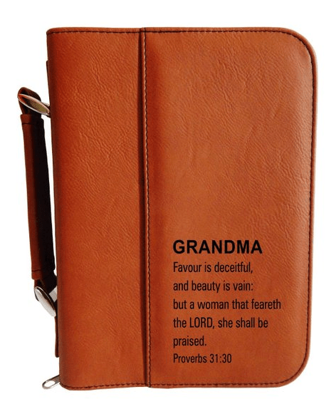 Get Grandma for Christmas - personalized leather bible cover Grandma Favour is deceitful, and beauty is vain Proverbs 31:30