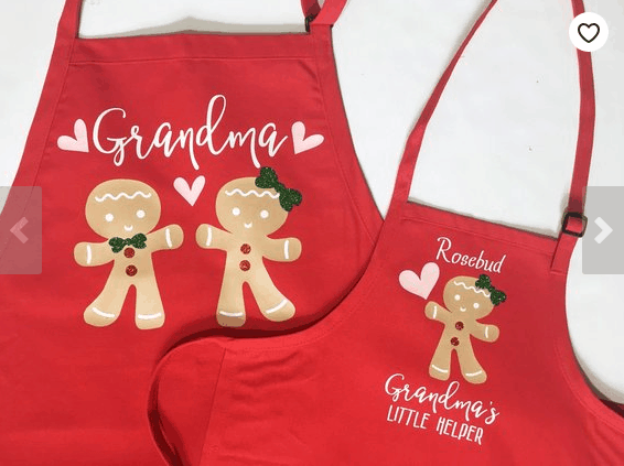 Get Grandma for Christmas - matching apron set gingerbread cookies personalized red