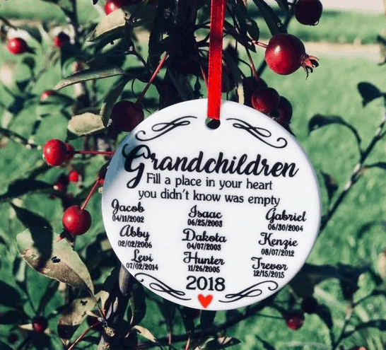 Get Grandma for Christmas - white circle personalized christmas ornament Grandchildren fill a place in your heart