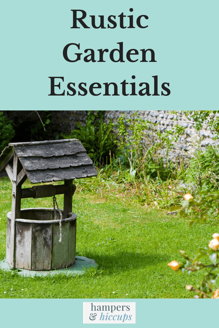 Rustic Garden Essentials wooden well adorns a flower garden hampersandhiccups